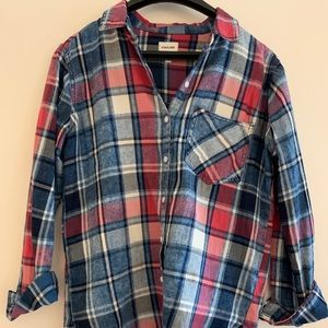 Red and blue flannel top